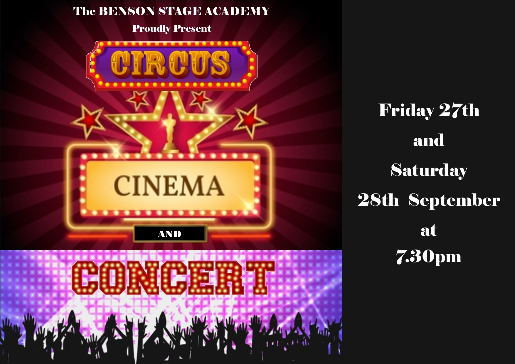 Circus, Cinema and Concert